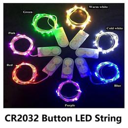Ingrosso Luci a LED a filo di rame Luci CR2032 Batteria a bottone Batteria a filo di riso Luce 2M 20LED Luce da fiaba per decorazioni natalizie natalizie