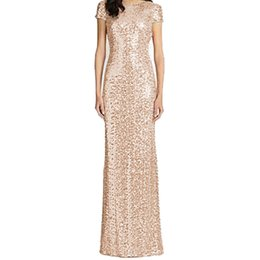 Barato Dama De Honra Vestidos De Ouro Borgonha-Honey Qiao vestidos de dama de honra Rose Gold Sequins Mermaid mangas curtas alto volta 2017 Party Gowns Champagne Borgonha Maid of Honor Vestidos