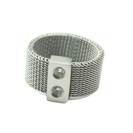 Wire Rings NZ - Wire Mesh Ring with Rhinestone Jewelry 2 Crystal Embedded Stainless Steel Mesh Girls Finger Rings Silver Color for Party Band Rings
