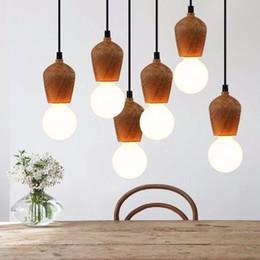 Hall oaks online shopping - Modern Oak Wood Pendant Lights Vintage Cord Pendant Lamp Hanging Light Fixture Black Wire Edison E27 Bulb Suspension luminaire