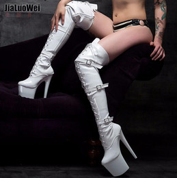 Over Knee Platform High Boots Canada - Fashion Sexy White Women Thigh High Boots 20cm heel 9CM platform Fetish Buckles Over-the-Knee high Boot Dancing pumps Man Cosplay shoes