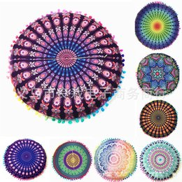 Lotus piLLows online shopping - 12rz Lotus Feather Mandala Pillows Cases Folk Style Cushions Covers Round Cushion Cover Digital Polyester Fiber Pillow Case Printed