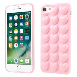 Skin loverS online shopping - 3D Heart Case For iphone X Plus with Lanyard String Soft Lover Silicone Jelly Phone Cover Skin Shell with Hang Rope Colorful
