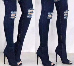 dcb52513e522 Sexy Runway Denim Sexy Over The Knee Boots Woman Thigh High Boots Ripped  Distressed Jeans Boots Open Peep Toe Zip Women Heels