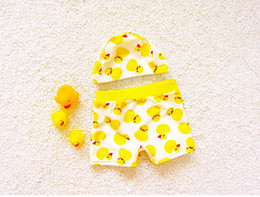 trunks boy swimsuit Canada - children boys board shorts yellow duck dot shorts+hat swimsuits for kids boy swim trunks baby boys beach clothing fashion kids swim clothes