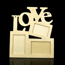 Shape photo frameS online shopping - Photo Frame European Style Wooden Eco Friendly Hollow Love Shape Conjoined Letter DIY Picture Frames Art Home Decor ae F R