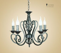Bedroom Chandeliers Candles Canada - For Foyer living room bedroom dinning room use modern vintage 5 arms classical Iron matt black with candle light chandelier