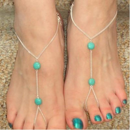 anklet toe chain UK - Boho Ankle Bracelets Girls Ladies Turquoise Silver Tone Toe Harness Anklets Beach Barefoot Sandal Foot Chain