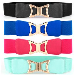 Wholesale Women Lady Golden Bow Buckle Elastic Belt Faux Leather Stretch Waist Band BLTYN0002