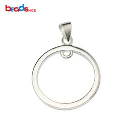 Diy sterling silver finDings online shopping - Beadsnice Solid Silver Pendant Charms Round Jewelry Accessory Handamde Finding for DIY Necklace ID33508