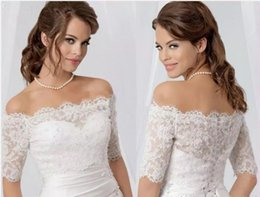 Barato Revestimento Do Botão Do Casamento Do Laço-Cheap Off Shoulder Lace Bolero Jacket Illusion Covered Button Jackets Bridal Shrug Bride Wraps Acessórios de vestido de noiva Shawl
