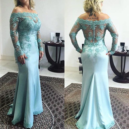 mother off bride dresses green lace Australia - Loght Blue Long Sleeve Mother of the Bride Dresses Off Shoulder Lace Floor Length Shetah Women Formal Gowns Custom Made