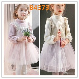 wholesale tutus Australia - Winter Princess Girls Long Sleeve Lace Stitched Tutu Dresses Warm Velvet Party Embroidery Lace Tulle Dresses Kids High Quality Clothing