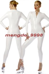 White full body costume online shopping - New White Shiny Metallic Bodysuit Catsuit Costumes Sexy Front Zipper Body Suit Unisex Cosplay Costumes Outfit Halloween Cosplay Suit M072