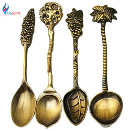 $enCountryForm.capitalKeyWord Canada - Wholesale- 4Pcs Set Metal Alloy Vintage Royal Style Carved Mini Coffee Spoons Coconut Tree Grape Handle Dessert Spoon Flatware Cutlery