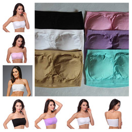4e78d10355 Strapless yoga sport Seamless Bandeau Bra with Removable Pads Chest Modal  Tube Top Bandeau Soft Sexy Wrap Chest 60pcs Lot BB087