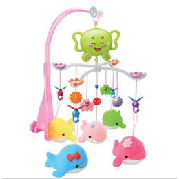Discount newborn baby cot bedding - Wholesale- Baby Crib Musical Mobile Cot Bell with 12 Music Melody Holder Arm Baby Bed Hanging Rattle Toys Newborn Gift L