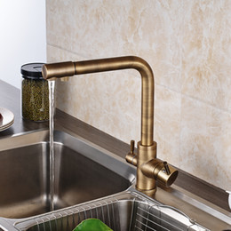 new popular retro style antique brass kitchen faucet two waterout long swivel spout pure water mixer discount kitchen faucet two spouts brass