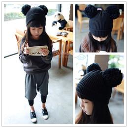 Ball cap ear warmers online shopping - Dual Ball Knitted Kids Caps Beanie  Hairball Ear Hat 05745816d3c