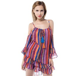 c7fc368a3c3 European casual dresses for women summer rainbow maxi ladies chiffon plus  size dresses harness cute dress sexy short dress long sleeve women