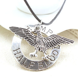 percy jackson necklace 2019 - Hot Movie Percy Jackson Camp Half Blood Flying Bird Pendant Necklace Best Gifts Rope Jewelry For Women And Men Wholesale