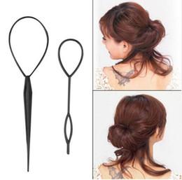 $enCountryForm.capitalKeyWord Canada - 2pcs set Magic Topsy Tail Hair Braid Ponytail Styling Maker Clip Tool Black Drop Shipping Hair Band Accessories