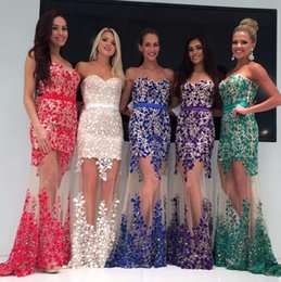 Barato Vestidos De Noite Longos Retos-Sexy Lace mangas Straight Evening Dresses 2017 Novo Beaded Off O ombro Prom Vestidos Sweep Train Long