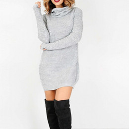Robes Courtes D'hiver De Dames Pas Cher-Femmes à manches longues en tricot Bodycon Party Sweater Short Mini Jumper Dress Femmes Ladies Winter Fall Dress