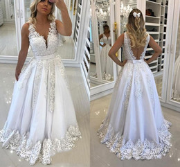 Wholesale Latest Luxurious V neck A line Wedding Dresses Floor length Appliques Beaded Backless Sleeveless Bridal Wedding Gowns Bride Dresses
