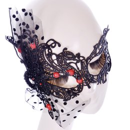 Costumes De Sexe Féminin Pas Cher-Black Sexy Lady Lace Mask pour Halloween Masquerade Tricot Eye Mask pour Sex Costume Carnival Night Bar Party Masques M5043