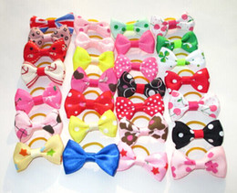 $enCountryForm.capitalKeyWord Canada - 100pcs New Dog Hair Clips Small Bowknot Pet Grooming Products Mix Colors Varies Patterns Pet Hair Bows Dog Accessories