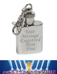 Discount keyring engraving FREE Personalised Engraved 1oz Stainless Steel Hip Flask Keyring FREE SHIPPING MYY