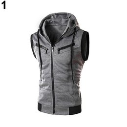 Barato Homens Caberiam Outerwear-Atacado- Moda masculina s Drawstring Hooded Zipper Slim Fit Vest Waistcoat Outerwear