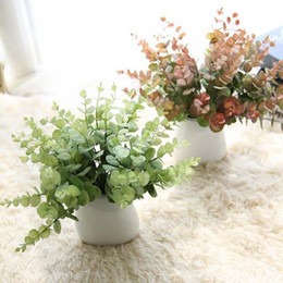 Hand Bouquet Color UK - 2-color hand-made holly leaf green plant silk flower bride bouquet or wedding family party holiday decoration