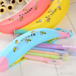 Pvc Pencil Pouch Wholesale Canada - Fashion Estuches School Supplies Stationery New Novelty Silicone Portable shallot Banana Coin Pencil Case Purse Bag Wallet Pouch Keyring