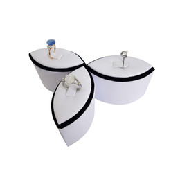 jewellery racks NZ - Wholesale White leather Rings Jewelry Display 4pcs lot Newest style Flower Jewellery Stand Holder Rack Case Showcase