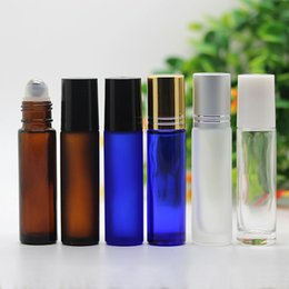 mini glass roller bottles wholesale NZ - Refillable 10ml Mini Thick Roll On Glass Bottles Blue Amber Clear Empty Fragrances Perfume Essential Oils Glass Bottle Metal Roller Balls