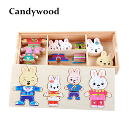 Wood Animal Figured Toys NZ - Cartoon Rabbit Change Clothes Wooden Toy Puzzles Montessori Educational Dress Changing Jigsaw Puzzle toys for children girl