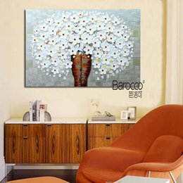 simple flower oil painting Canada - White Flowers 100% Hand Painted Palette Knife Oil Painting on Canvas Modern Simple Home Wall Art Decoration