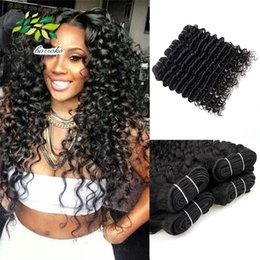 Hair Pcs Canada - 100% Malaysian Virgin Human Hair 4 pcs Lot Natural Color Remy Malaysian Hair Weave Deep Curly Sew in Extensions 8-26 Inch