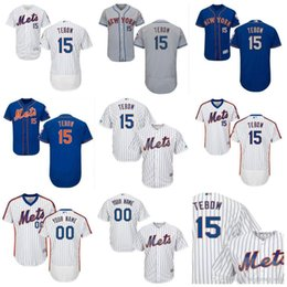 2016 mens new york mets jerseys 15 tim tebow white pinstripe blue throwback customized flex base