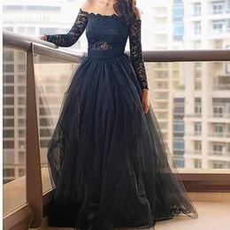 1562f0668d8f Elegant Ball Gown Floor Length Tulle Black Lace Boat Neck Full Sleeve  Formal Evening Dresses