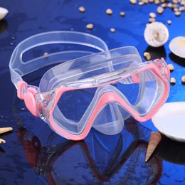 field glasses 2019 - Wholesale- Children Kids Seal Anti Fog Diving Swimming Mask Tempered Glass Lens Snorkeling Soft Silicone Strap Wide Fiel