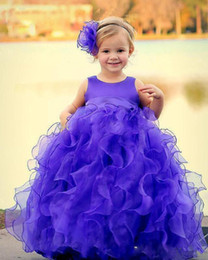 Flower Dress Color Belt Canada - Charming Purple Girls Pageant Dresses Ribbon Bow Belt Custom Made Floor Length Flower Girls Dress Ruffle Organza Birthday Party Dress