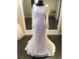 Lace Neck Fit Flare Canada - Real Made Fit and Flare Mermaid Bateau Neckline Long Sleeve Sheer Back Lace Appliques Custom Made Bridal Gown COR-578 Wedding Dresses