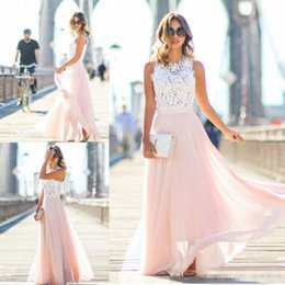 Lavender Blush Wedding Dress NZ - 2019 Cheap Bohemian A Line Beach Wedding Dresses Top Lace Floor Long Plus Size Simple Style Bridal Wedding Gowns With Blush Chiffon Bottom