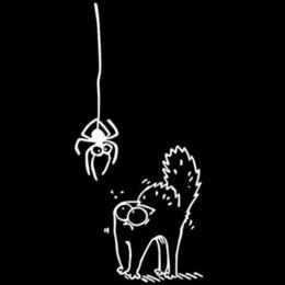 black cat window stickers 2019 - 6.8*14.8CM SCARED SPIDER SIMON`S CAT Cartoon Car Sticker Funny Animal Window Decoration Decal C4-0467 wholesale discount