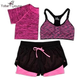 Barato Sutiã De Treinamento Grossista-Wholesale-2016 New 3 Pcs Mulheres Yoga Fitness Set Cropped Tops T-Shirt Bra Trousers Sports Wear Gym Clothes Treinamento Traje Tracksuits