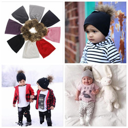 thanksgiving beanie babies 2018 - Winter Fashion Style New Unisex Newborn Baby Boy Girl Toddler Infant Cotton Soft Cute Hat Cap Beanie with fur ball YYA29