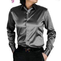 Satin Shirts Canada - Men Dress Shirt Custom Casual Suits Silk Satin Long sleeve Casual shirts fashion style Groom Shirts handsome